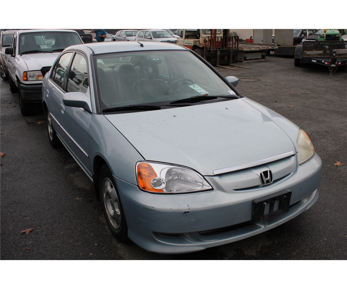 2003 Honda Civic Hybrid 4 Door Sedan Blue Vin Jhmes96583s800544 Image 2