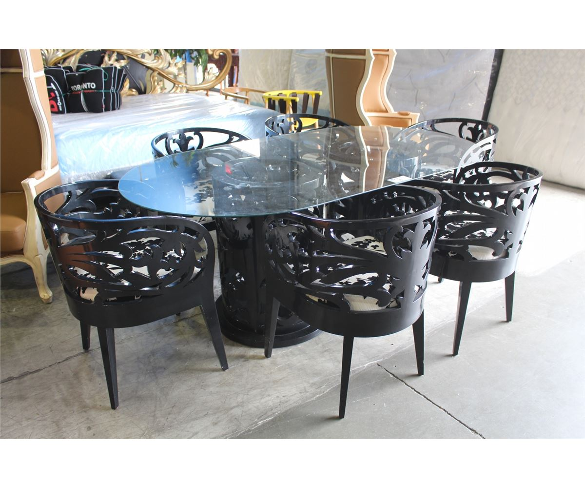 Glass Top Dining Room Set: 7PC GLASS TOP BLACK PIANO FINISH DINING ROOM TABLE SET