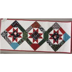 "16"" x 36 1/2"" ""Bright Stars"" Runner pieced and quilted by Conni Kaufman.  Made from Christmas charm"