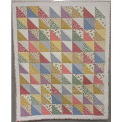 "47 1/2"" x 58"". Reproduced 30's fabric in ½ square triangle blocks.  In memory of Grandma Mildred.  P"