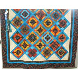 "84""x 84"" Queen Size quilt was made by the Central Montana Fiber Arts Guild.  All members contributed"