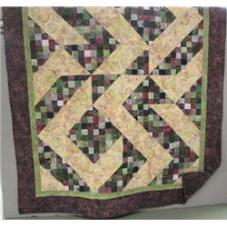 "70"" x 92"" This beautiful ""Simply Stitch and Split"" Quilt was pieced by Margaret Gatz and Sharon Wals"