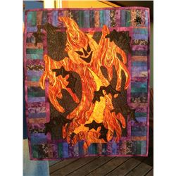 """""""23 x 27"""" - """"Dancing with Bats"""" – A Halloween wall hanging pieced and quilted by Dr. Cathy Holmes,"""