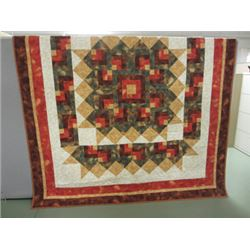 "84 x 100 Queen- sized Quilt -Beautiful Fall Colors ""Autumn Star"".  Look closely at the lovely quilti"