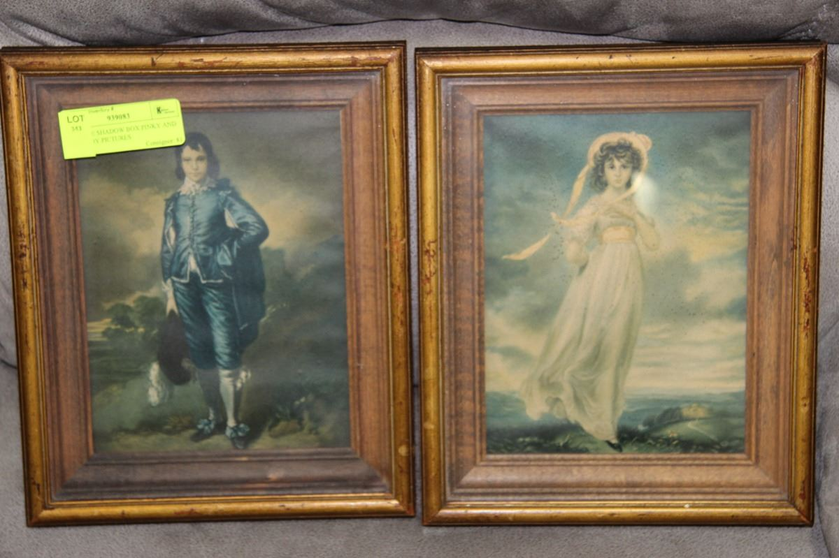 Image 1 Antique Shadow Box Pink And Blue Boy Pictures