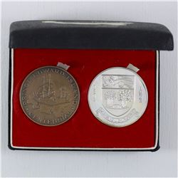 1873-1973 Prince Edward Island Sterling Silver and Bronze Medal 2-coin set with Original display box