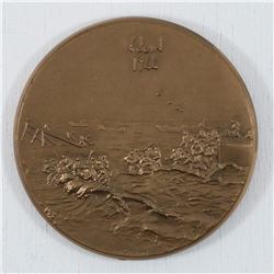 1944 D-day (Landing in Normandy)  Bronze Medallion by J.H. Coeffin. Diameter 68.5 mm