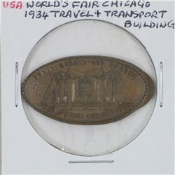 1934 World's Fair Chicago Travel & Transport Building elongated Penny