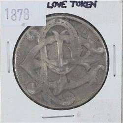 1878 Love Token struck on a USA Morgan Dollar.