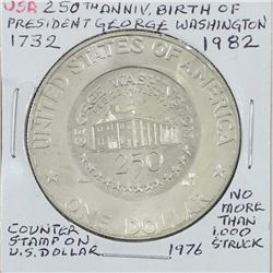 Counter Stamp on USA 1976S Silver Dollar. 250th Anniversary of the birth of President George Washing