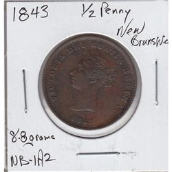 1843 New Brunswick  1/2 Penny Token. NB-1A2