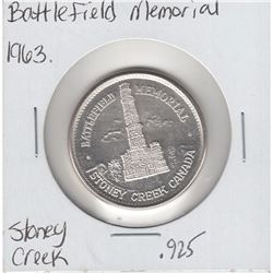 1813-1963 Battlefield Memorial Stoney Creek Canada Silver Version. Dedicated to the Brave Men who fo