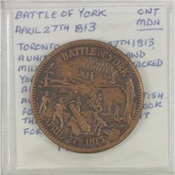1963 Battle of York  April 27th 1813. Diameter 32mm