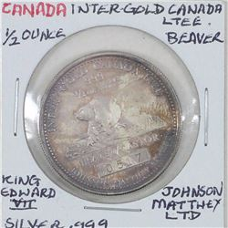 1980 Inter-Gold Canada Ltd. Beaver/Castor 1/2oz. .999 Fine Silver Johnson-Matthey Limited. Very Scar