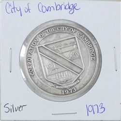 1973 City of Cambridge Sterling Silver Medallion Commemorating the city of Cambridge, Canada's newes
