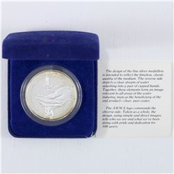 1881-1981 American water works association .999 fine Silver Medallion with Blue velvet display box (