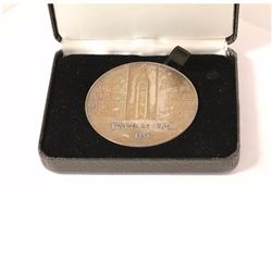 1985 Large Sterling Silver Medal AWarded by the Government of Canada For Long and Efficient Service.