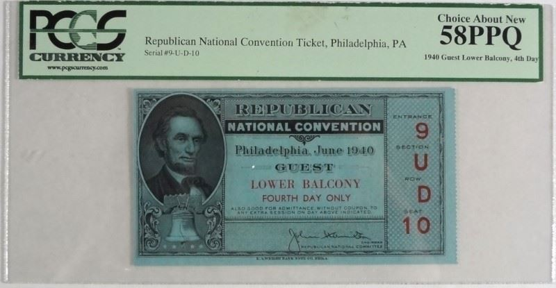 Image 1 1940 REPUBLICAN NATIONAL CONVENTION TICKET PCGS GRADED CHOICE