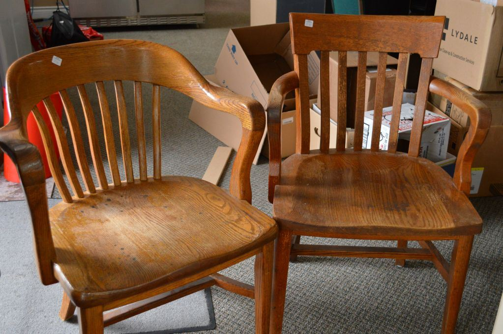 Image 1 : Two open arm vintage oak office chairs - Two Open Arm Vintage Oak Office Chairs