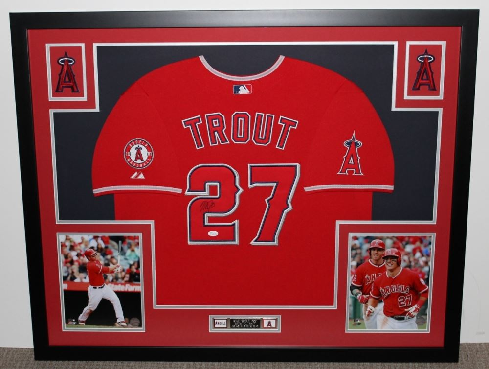 11391665bce ... denmark image 1 mike trout signed angels 35 x 43 custom framed jersey  6f942 db7a3