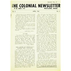 An Early Issue of the Colonial Newsletter
