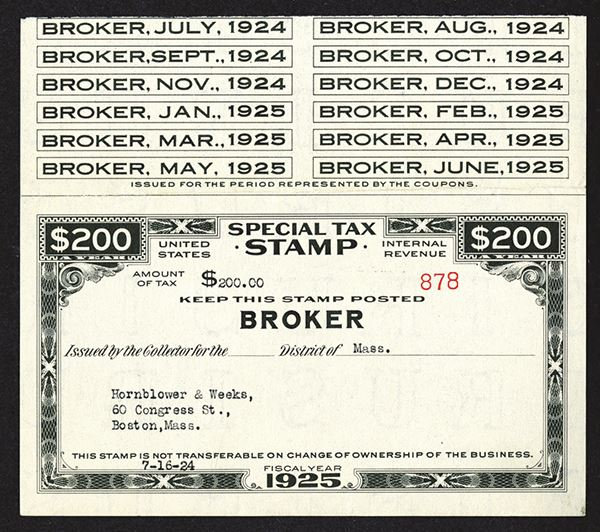 Irs Special Tax Stamp Broker 1924