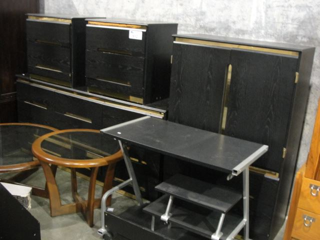Group lot of furniture black 5pc bedroom suite 2 glass top living room side tables and a Black glass side tables for living room