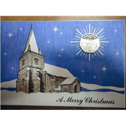 Xmas Card With 1988 Isle Of Man Silver Proof 50 Pence Coin