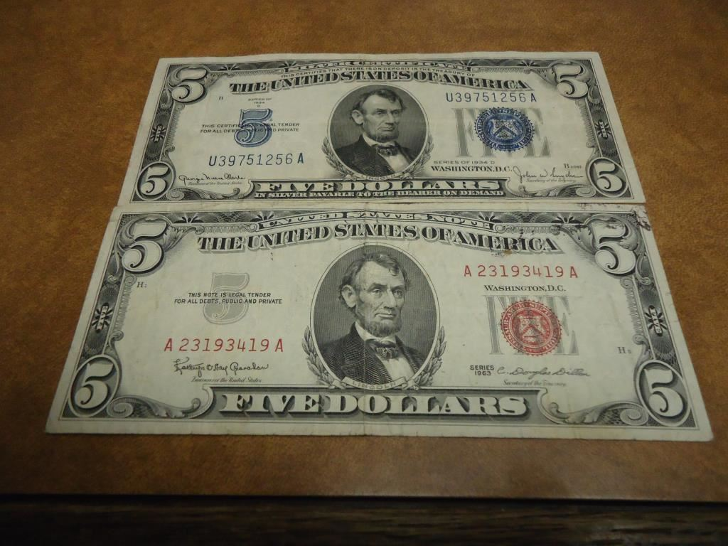 1934 D 1963 5 Bills 1934 D Blue Seal Silver Certificate And 1963