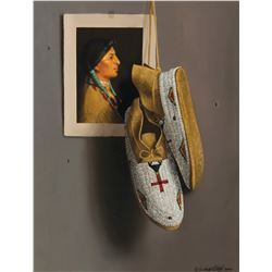 White Beaded Mocs with Red Cross
