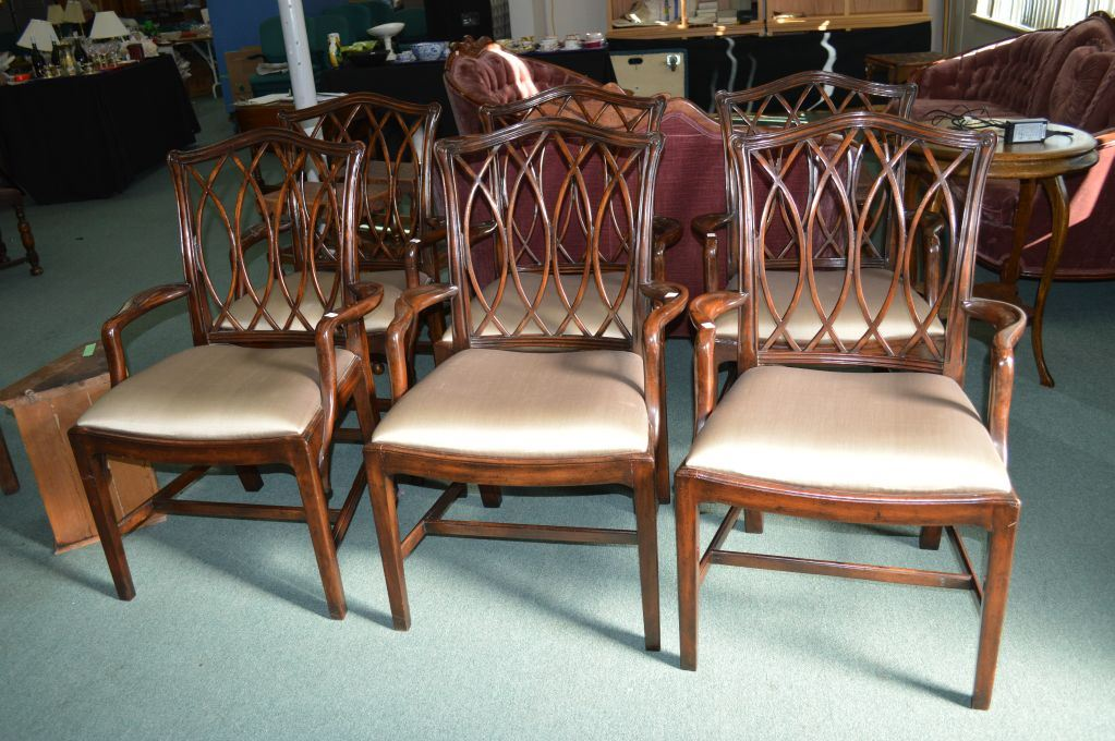 image 1 six george iii replica dining chairs by theodore alexander with interlacing trellis back
