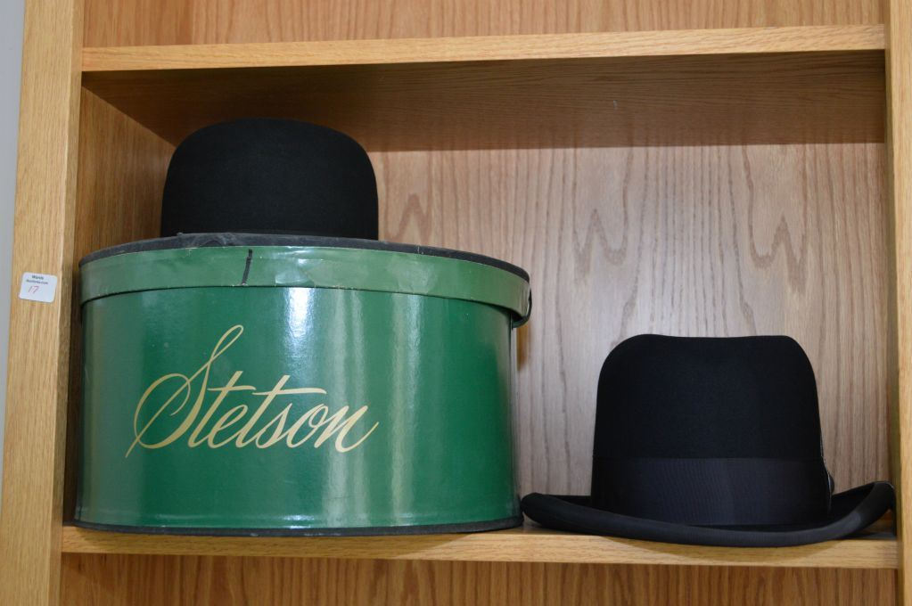 Three Gents Vintage Top Quality Hats Including Silk Lined Stetson Bowler