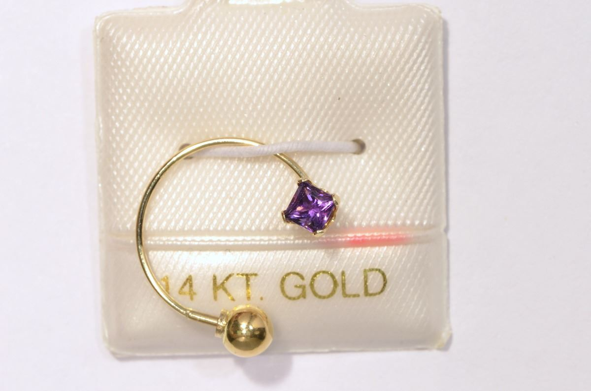 14kt gold amethyst belly button ring kastner auctions