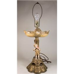 Figural Porcelain Compote Mounted as Lamp