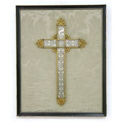 Gilt Metal and Glass Cross Framed