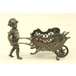 Bronze Boy Pulling Wagon