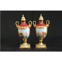 Pair 19th Century Sèvres Urns with Covers