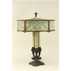 Reverse Painted Lamp with Candlestick Base