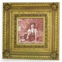 Ceramic Plaque of Seated Young Lady