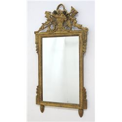 Italian Gilt Wood Mirror with Basket of Flowers