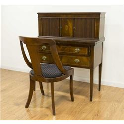 Regency Style Mahogany Desk with Chair