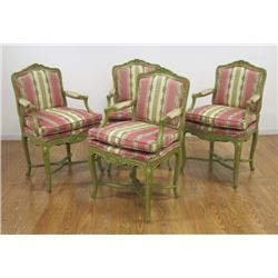 Set of 4 Louis XV Style Green Painted Fauteuils