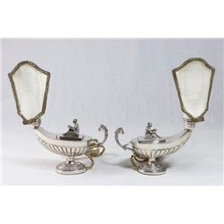 Pair 800 Silver Aladdin Lamps