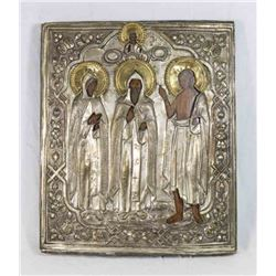 Russian Icon of Jesus and 3 Saints
