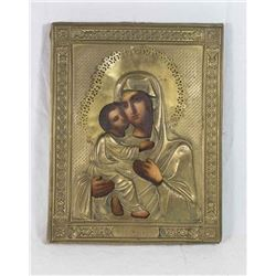 Russian Icon of Blessed Mother and Baby Jesus