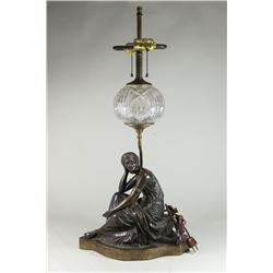 Louis Kley Bronze Figure Mounted as Lamp