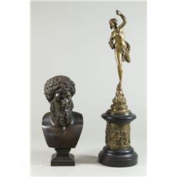 Bronze Bust of Socrates & Venus on Marble Round