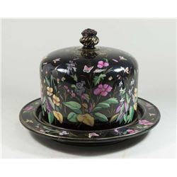 Victorian Enamel Painted Covered Cheese Dish