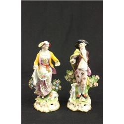 Pair 18th Century Chelsea figurines