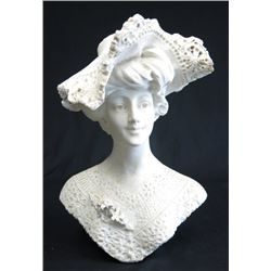 19th Century Marble Bust of Lady with Hat